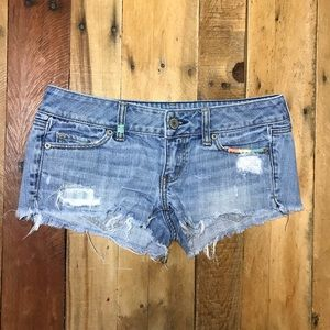 American Eagle Denim Jean Shorts Distressed Blue 4